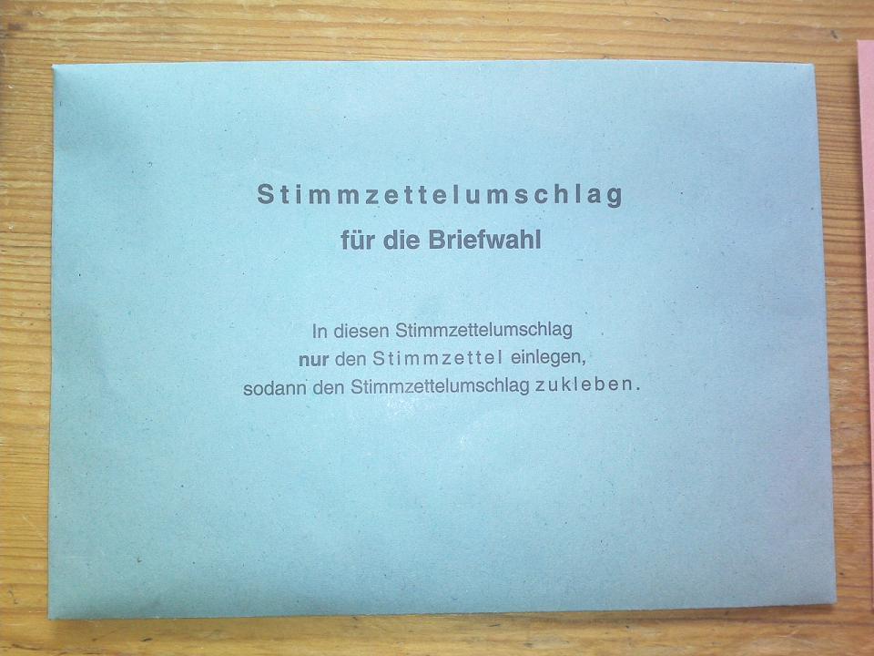 Briefwahlunterlagen Bundestagswahl 2009
