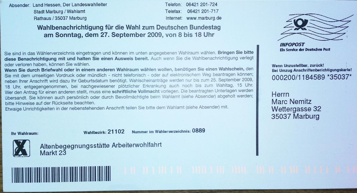 Die Wahlbenachrichtigungen sind da – Bundestagswahl 2009