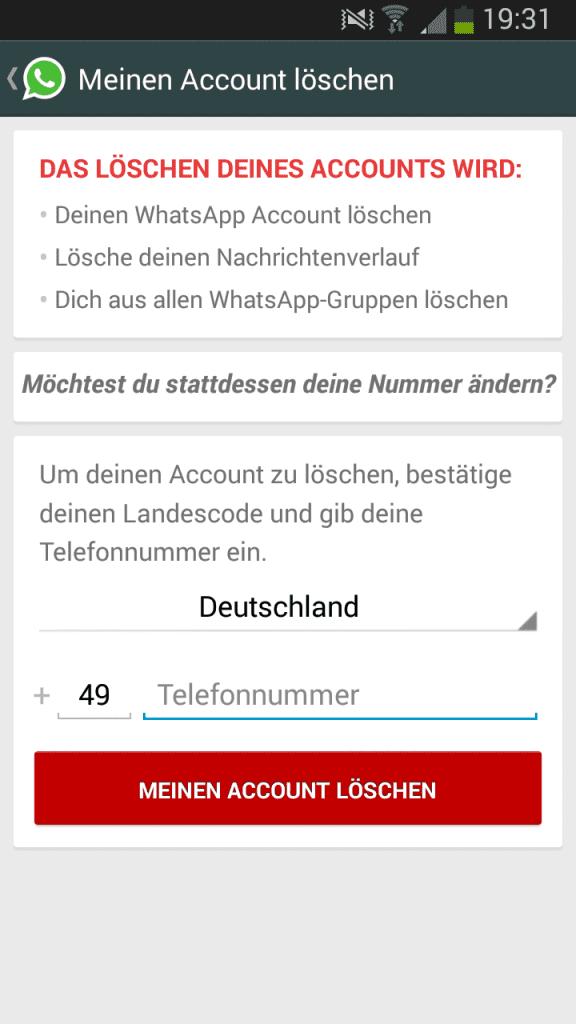 Whatsapp Account löschen und deinstallieren